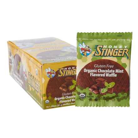 Honey Stinger Organic Gluten-Free Energy Waffles - Box of 16 in Chocolate Mint - Closeouts