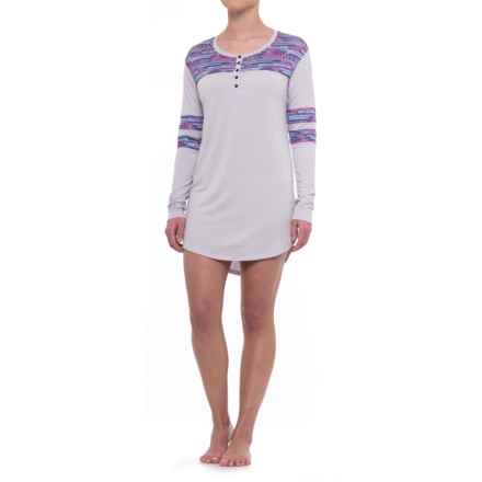Honeydew Intimates All-American Henley Sleep Shirt - Stretch Rayon, Long Sleeve (For Women) in Heather Jasmine - Closeouts