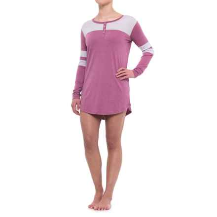 Honeydew Intimates Intimates All-American Henley Sleep Shirt - Stretch Rayon, Long Sleeve (For Women) in Heather Lavish - Closeouts
