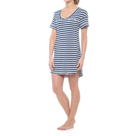 Honeydew Intimates Intimates All-American Ribbed Sleep Shirt - Stretch Rayon, Short Sleeve (For Women) in Orchid Haze Stripe