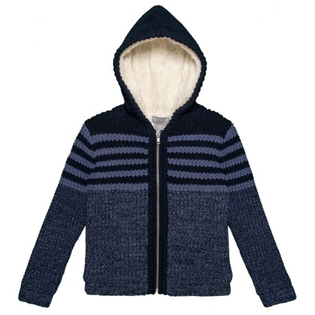 Image of Hooded Cardigan Jacket - Sherpa Lined (For Little Boys)