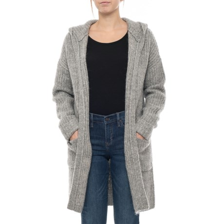 Image of Hooded Cardigan Sweater - Open Front (For Women)