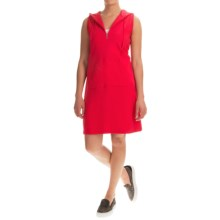 Hooded Cotton Dress - Zip Neck, Sleeveless (For Women) in Red - 2nds
