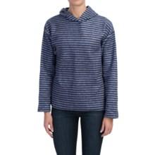 Hooded Fleece Pullover Sweatshirt (For Women) in Navy/ Blue Stripes - 2nds