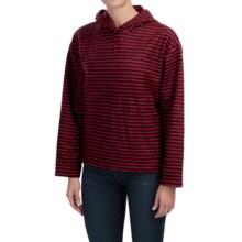 Hooded Fleece Pullover Sweatshirt (For Women) in Red/Black Stripe - 2nds