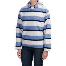 Hooded Fleece Pullover Sweatshirt (For Women) in White/Blue/Pink Stripe - 2nds