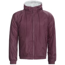 Hooded Windbreaker Jacket - Jersey Knit Lining (For Men) in Burgundy - 2nds