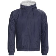 Hooded Windbreaker Jacket - Jersey Knit Lining (For Men) in Navy - 2nds