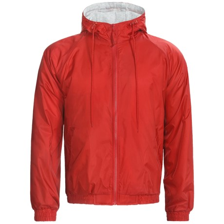 Hooded Windbreaker Jacket - Jersey Knit Lining (For Men) in Red Orange