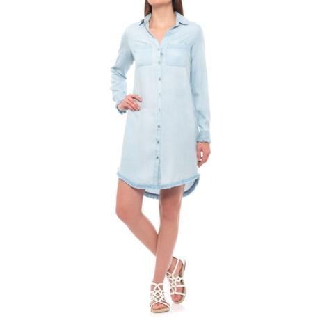 Hope & Harlow Denim Style Blouse Dress - Long Sleeve (For Women) in Caribbean Blue
