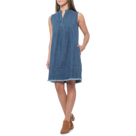 f65eb3ffca7 Hope   Harlow Indigo Split Neck Tunic Dress with Frayed Hem - Sleeveless  (For Women