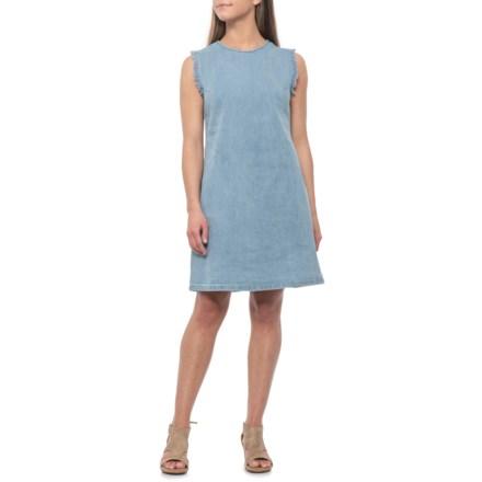 f3092eb6f0d Hope   Harlow Light Blue Denim Shift Dress with Fraying - Sleeveless (For  Women)