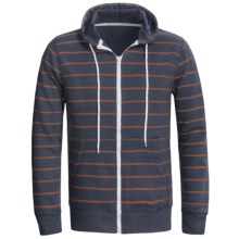 Horizontal Stripe Hoodie Sweatshirt (For Men) in Dark Slate Blue/Orange Stripe - Closeouts