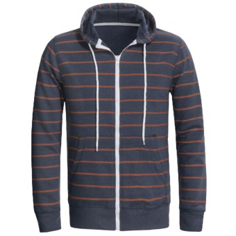 Horizontal Stripe Hoodie Sweatshirt (For Men) in Dark Slate Blue/Orange Stripe