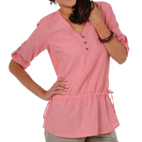 Horny Toad Rosie Overshirt - Organic Cotton, Roll-Tab 3/4 Sleeve (For Women) in Bright Coral