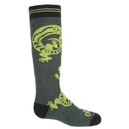 Hot Chillys Geckos Fiesta Mid Volume Ski Socks - Over the Calf (For Big Kids) in Geckos Heather Green - Closeouts