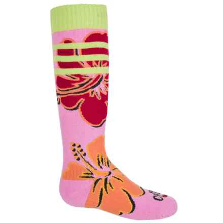 Hot Chillys Gidget Midweight Ski Socks - Over the Calf (For Little and Big Kids) in Gidget Pink - Closeouts