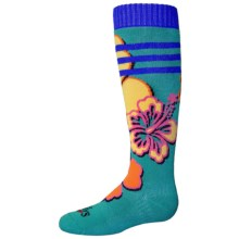 Hot Chillys Gidget Midweight Ski Socks - Over the Calf (For Little and Big Kids) in Gidget/Tropic Green - Closeouts
