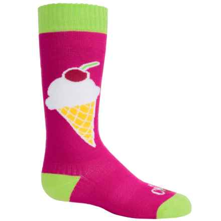 Hot Chillys Ice Cream Midweight Ski Socks - Over the Calf (For Little and Big Kids) in Icecream/Raspberry - Closeouts