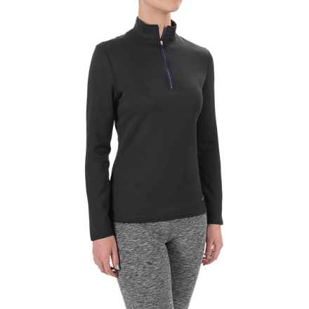 Hot Chillys M-Quilt Base Layer Top - Zip Neck, Long Sleeve (For Women) in Black/Electric - Closeouts