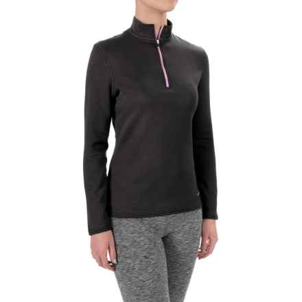 Hot Chillys M-Quilt Base Layer Top - Zip Neck, Long Sleeve (For Women) in Black/Passion - Closeouts