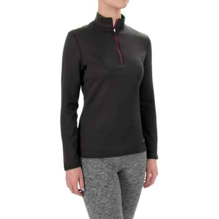 Hot Chillys M-Quilt Base Layer Top - Zip Neck, Long Sleeve (For Women) in Black/Razzle - Closeouts