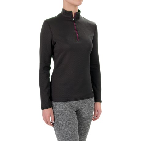 Hot Chillys M-Quilt Base Layer Top - Zip Neck, Long Sleeve (For Women) in Black/Razzle