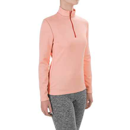 Hot Chillys M-Quilt Base Layer Top - Zip Neck, Long Sleeve (For Women) in Peach/Autumn - Closeouts