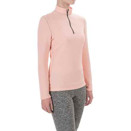 Hot Chillys M-Quilt Base Layer Top - Zip Neck, Long Sleeve (For Women) in Peach/Charcoal - Closeouts