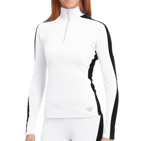 Hot Chillys Micro-Elite Brushed Panel Shirt - Heavyweight Base Layer, Long Sleeve (For Women) in White/Black
