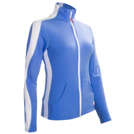 Hot Chillys Micro-Elite Brushed Salsa Panel Jacket - Heavyweight (For Women) in Sky/White