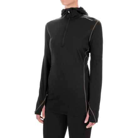 Hot Chillys Micro-Elite Chamois Hooded Base Layer Top - Zip Neck, Long Sleeve (For Women) in Black - Closeouts