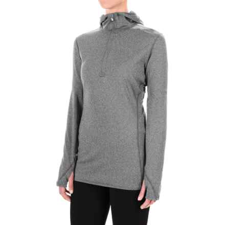 Hot Chillys Micro-Elite Chamois Hooded Base Layer Top - Zip Neck, Long Sleeve (For Women) in Granite - Closeouts