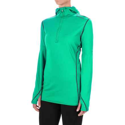 Hot Chillys Micro-Elite Chamois Hooded Base Layer Top - Zip Neck, Long Sleeve (For Women) in Tropic Green - Closeouts