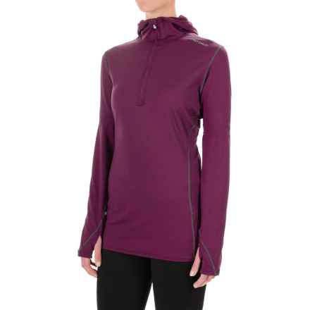 Hot Chillys Micro-Elite Chamois Hooded Base Layer Top - Zip Neck, Long Sleeve (For Women) in Viola - Closeouts