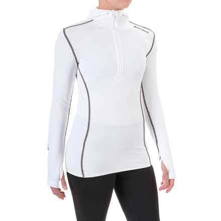 Hot Chillys Micro-Elite Chamois Hooded Base Layer Top - Zip Neck, Long Sleeve (For Women) in White - Closeouts