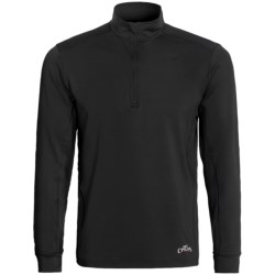 Hot Chillys Micro-Elite Chamois Panel Base Layer Zip Turtleneck - UPF 30+, Midweight, Long Sleeve (For Men) in Black/Black