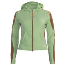 Hot Chillys Micro-Elite Hoodie Sweatshirt - Full Zip, Heavyweight, Base Layer (For Women) in Leaf/Java - Closeouts