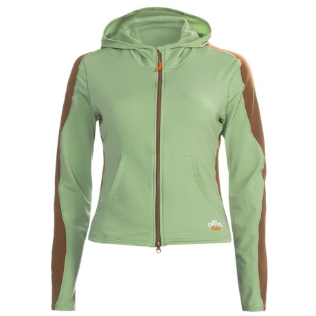 Hot Chillys Micro-Elite Hoodie Sweatshirt - Full Zip, Heavyweight, Base Layer (For Women) in Leaf/Java