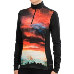 Hot Chillys Micro-Elite Sublimated Print Base Layer Top - Midweight, Zip Neck, Long Sleeve (For Women) in Firey Sunset/Black