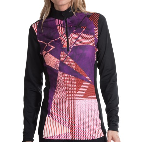 Hot Chillys Micro-Elite Sublimated Print Base Layer Top - Midweight, Zip Neck, Long Sleeve (For Women) in Modern Dimension