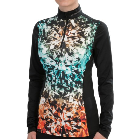 Hot Chillys Micro-Elite Sublimated Print Base Layer Top - Midweight, Zip Neck, Long Sleeve (For Women) in Rock Candy/Black