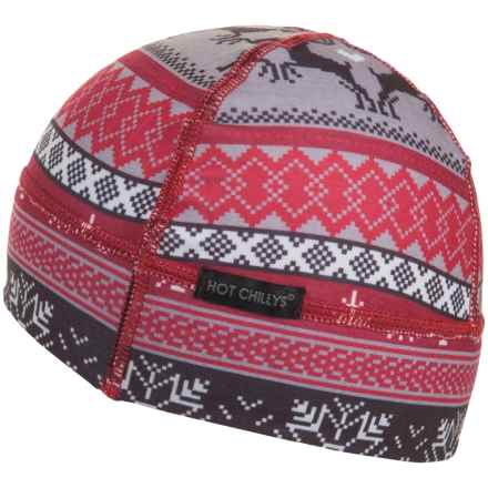 Hot Chillys MTF Printed Helmet Liner (For Women) in Holiday Fever/Crimson - Overstock