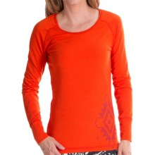 Hot Chillys MTF4000 Gods Eye Print Base Layer Top - Midweight, Scoop Neck, Long Sleeve (For Women) in Cayenne/Ember - Closeouts