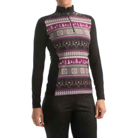 Hot Chillys MTF4000 Print Base Layer Top - Midweight, Zip Neck, Long Sleeve (For Women) in Cabin Fever/Black - Closeouts