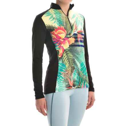 Hot Chillys MTF4000 Print Base Layer Top - Midweight, Zip Neck, Long Sleeve (For Women) in Gidget/Black - Closeouts