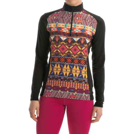 Hot Chillys MTF4000 Print Base Layer Top - Midweight, Zip Neck, Long Sleeve (For Women) in Primitive Pop/Black - Closeouts
