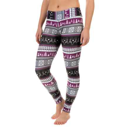 Hot Chillys MTF4000 Printed Leggings - Midweight (For Women) in Cafe - Closeouts