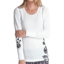Hot Chillys MTF4000 Wildflower Print Top - Midweight, Scoop Neck, Long Sleeve (For Women) in White/Black - Closeouts