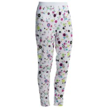 Hot Chillys Peachskins Print Base Layer Bottoms - Midweight (For Youth) in Dots & Hearts/White - Closeouts